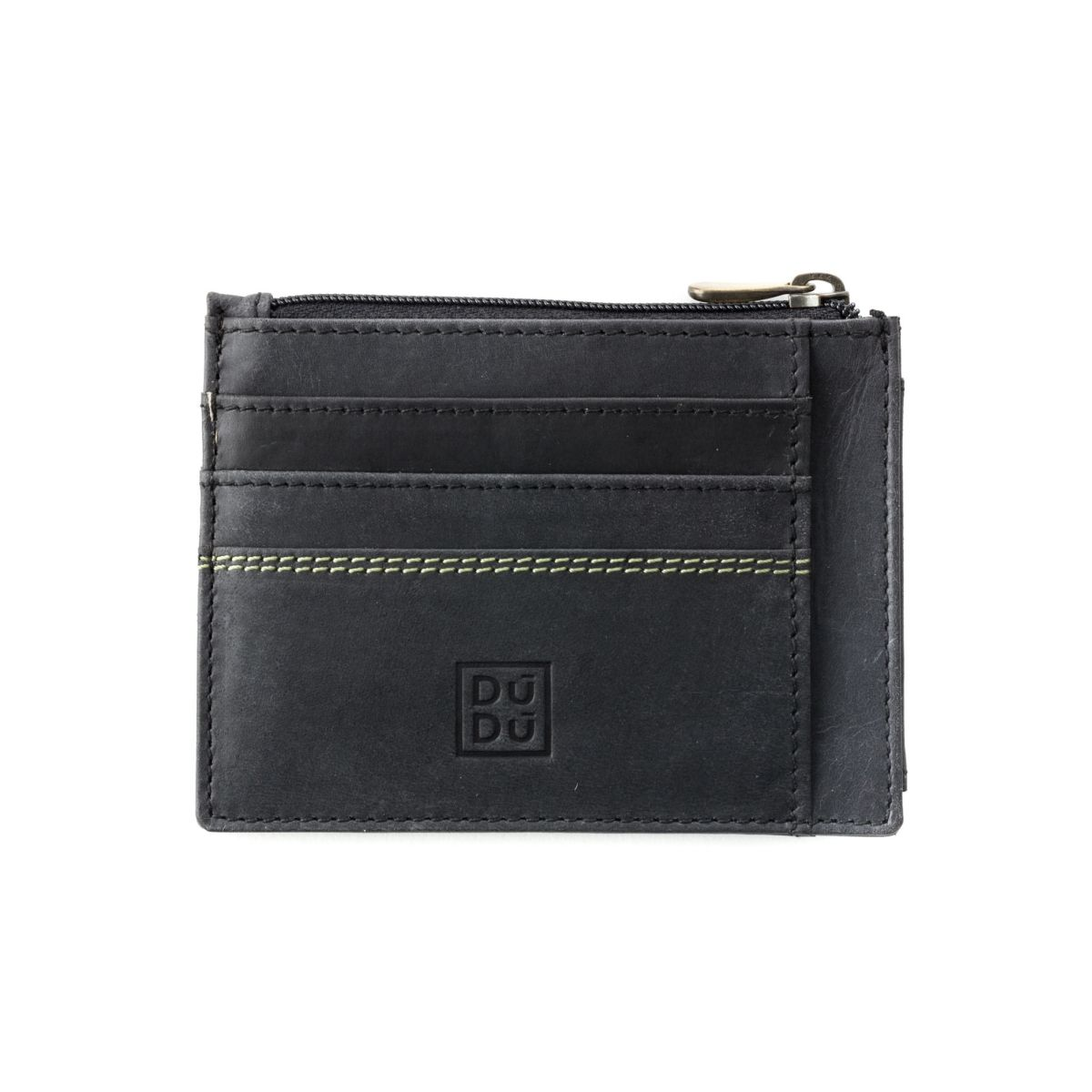 DuDu Slim Leather Credit Card Wallet - Black