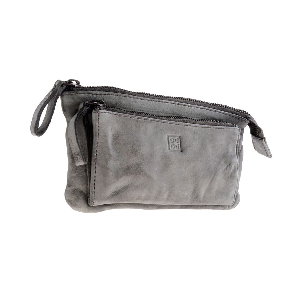 DuDu Woman's Hand-Made Soft Leather Purse - Gray