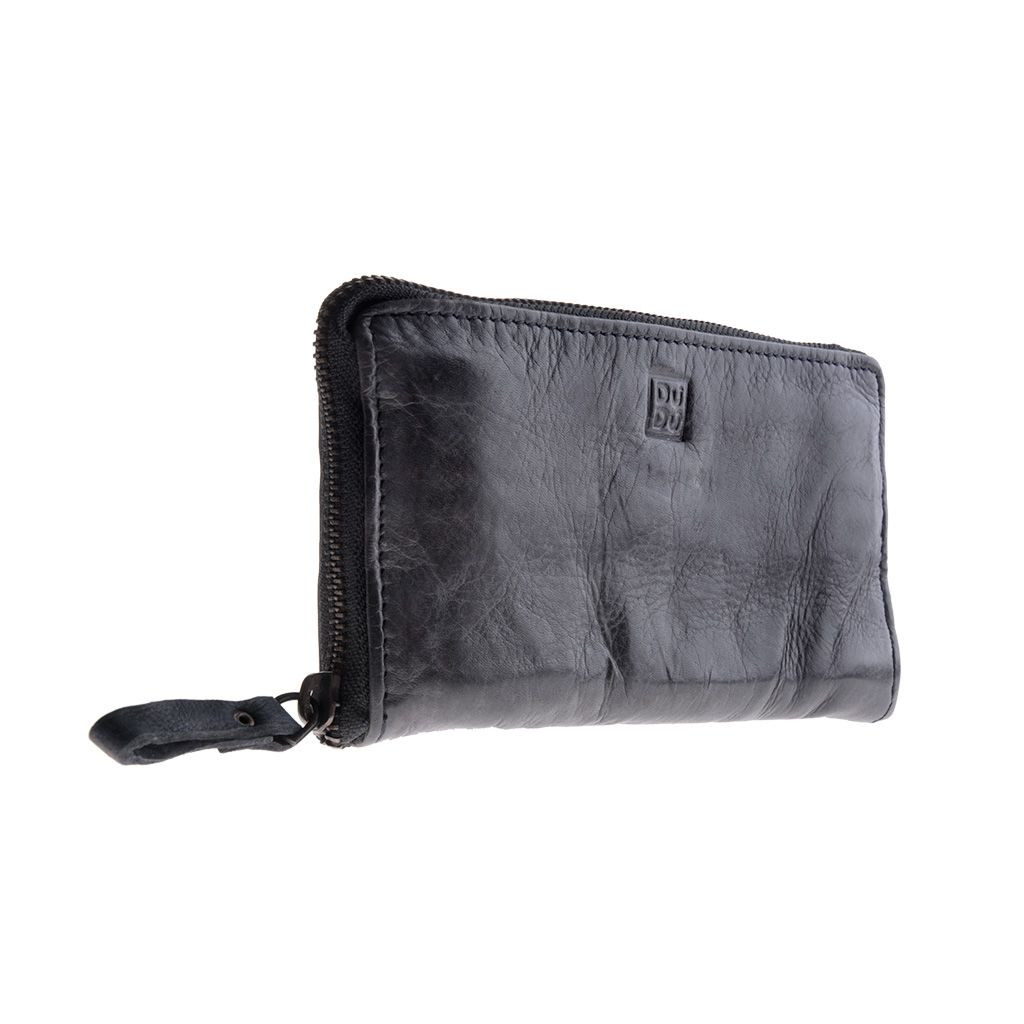 DuDu Woman's Hand-Made Soft Leather Wallet - Black Slate