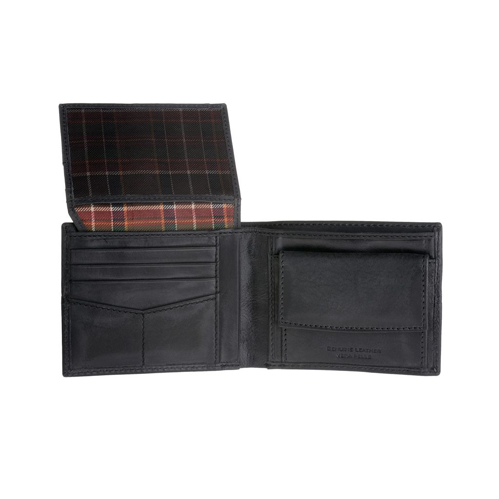 Mans Leather Wallet With Brushed Effect - Black