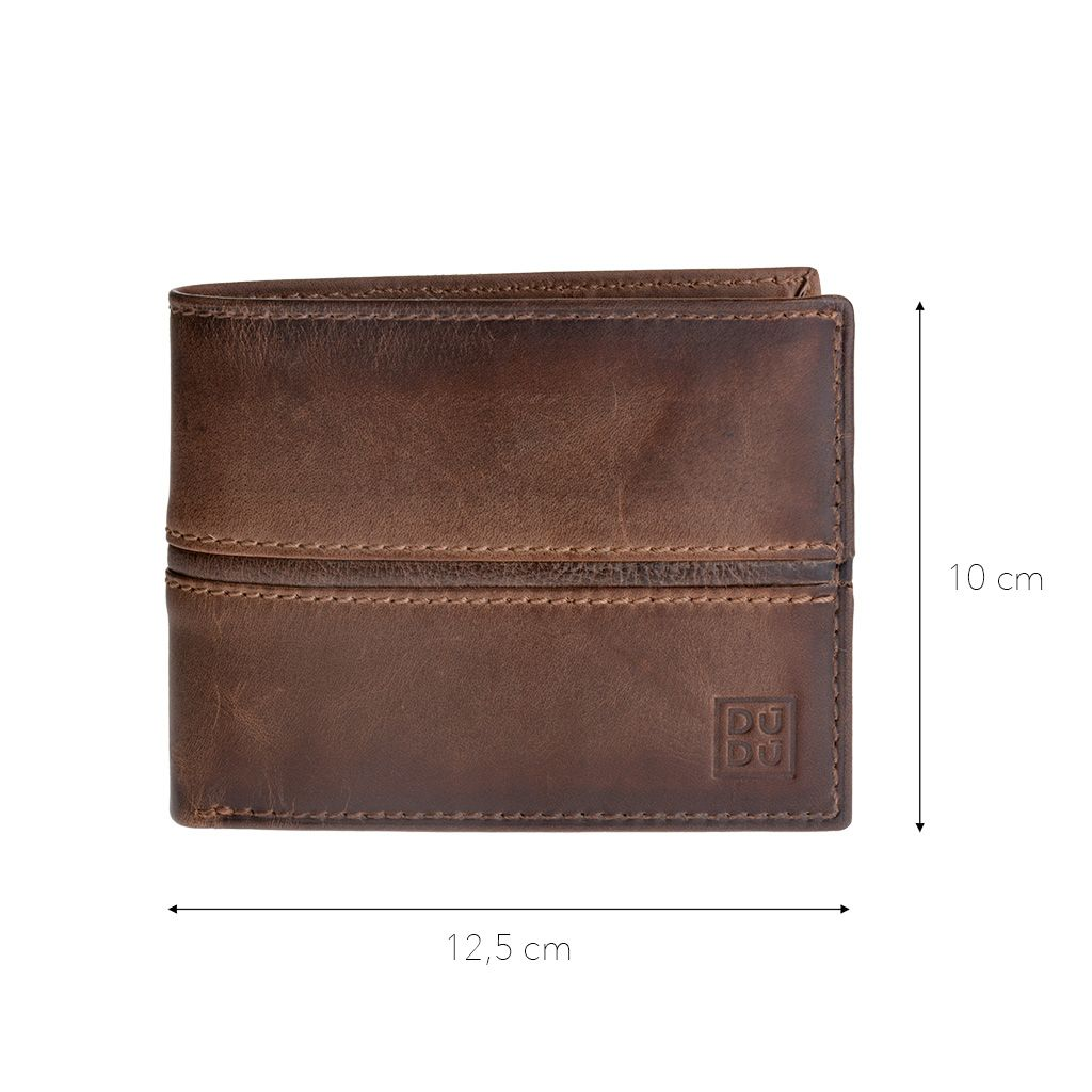 DuDu Mans Leather Wallet With Brushed Effect - Dark Brown
