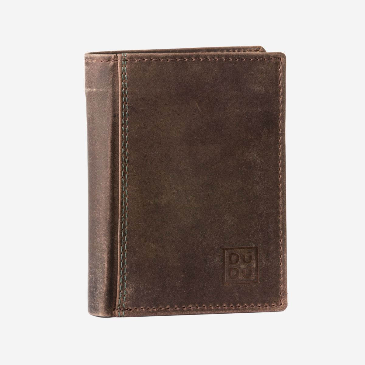 DuDu Small Mans Billfold Vertical Wallet  - Dark Brown