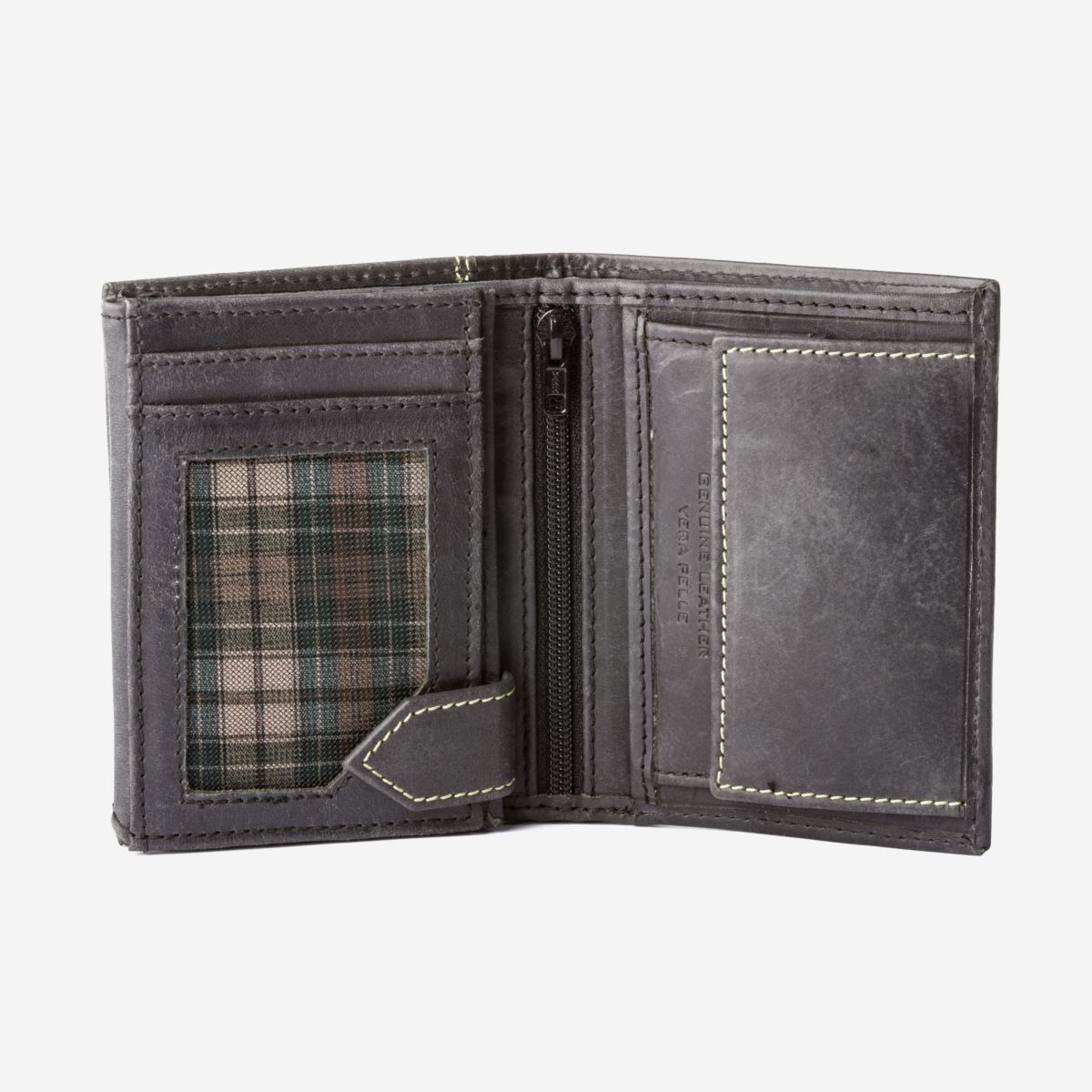 DuDu Small Mans Billfold Vertical Wallet  - Black