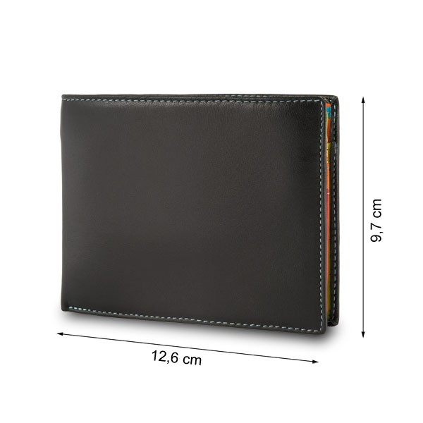 DuDu Leather classic multi color wallet with coin purse and inside flap with RFID - Black