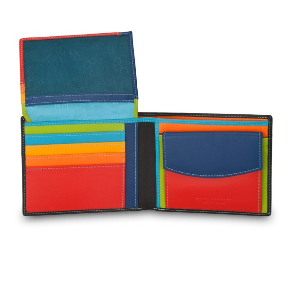 Leather classic multi color wallet with coin purse and inside flap - Black