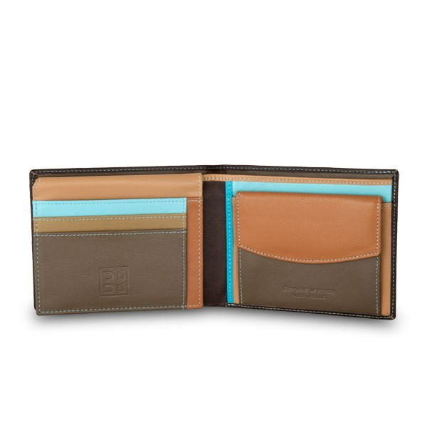 Leather classic multi color wallet with coin purse and inside flap - Dark Brown