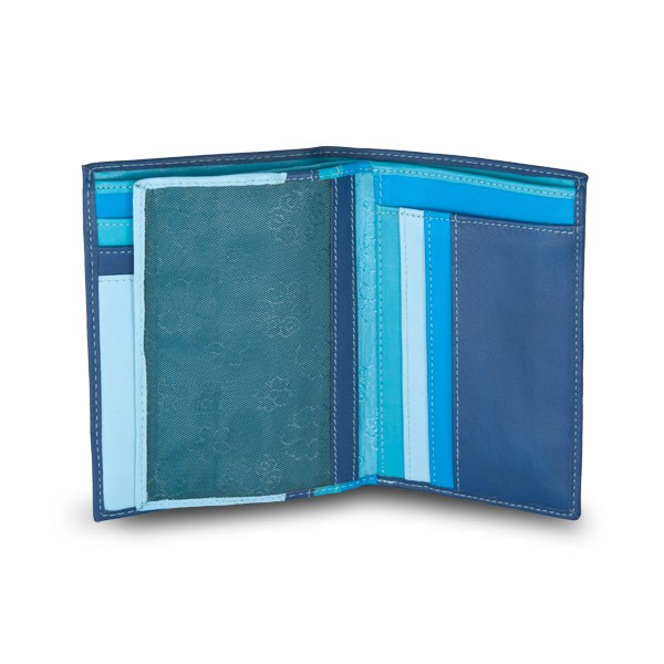 DuDu Mans leather folding wallet with inner zip - Blue