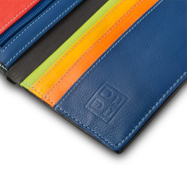DuDu Mans leather folding wallet with inner zip with RFID - Black