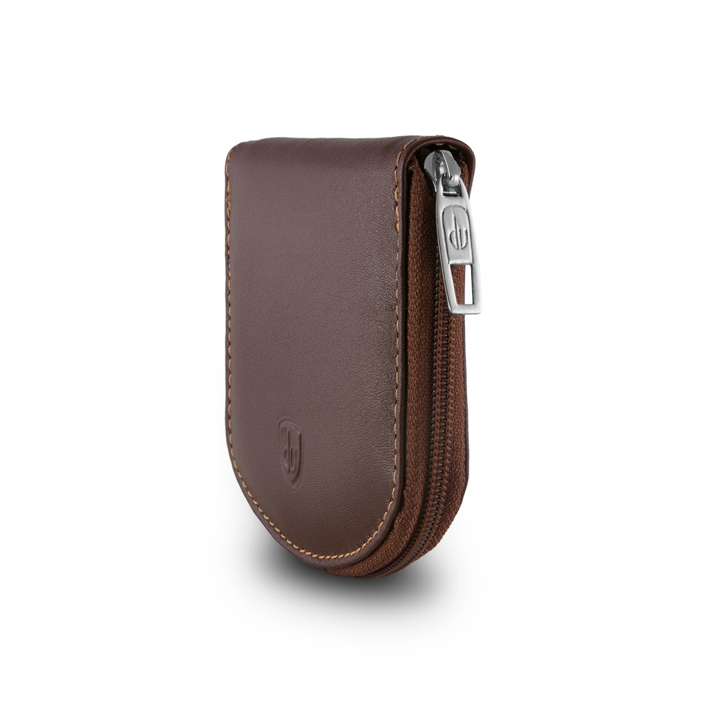 dv Leather Coin Purse - Brown
