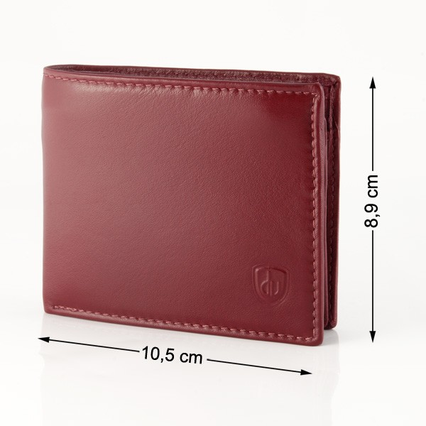 dv Leather wallet with coin purse and inside secret zip compartment - Bordeaux