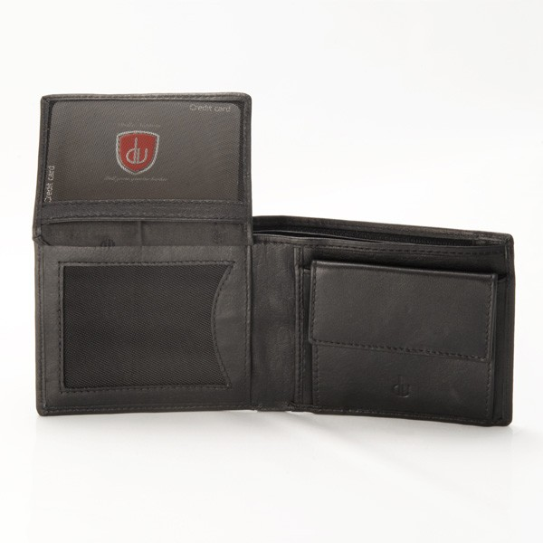 dv Leather wallet with coin purse and inside secret zip compartment - Black