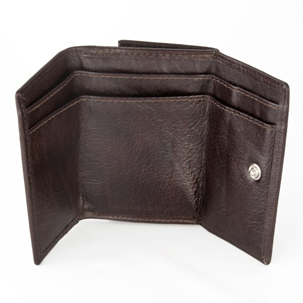 Small leather wallet with coin purse and double closure - Dark Brown
