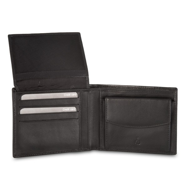 dv RFID Leather classic wallet with coin purse and inside flap - Black