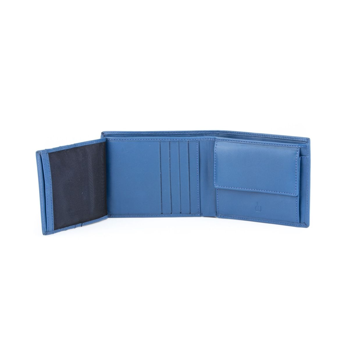 dv Leather Wallet for men with inner flap side - Blue