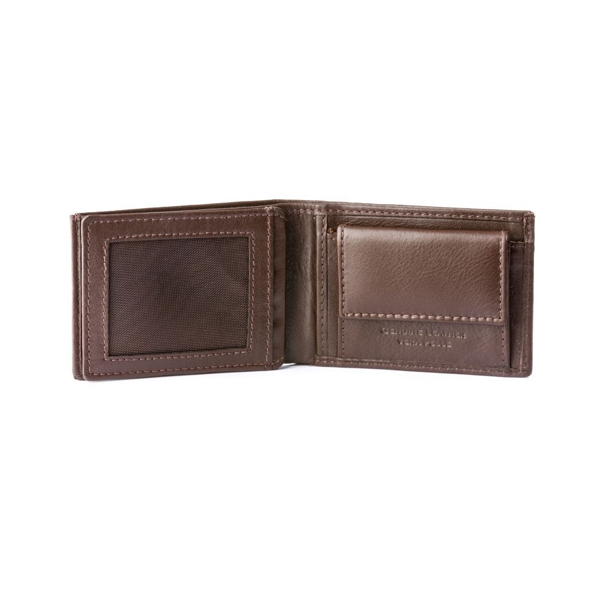 Thin Leather wallet with coin purse - Dark Brown