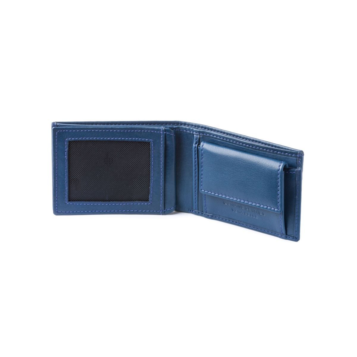 dv Thin Leather wallet with coin purse - Blue