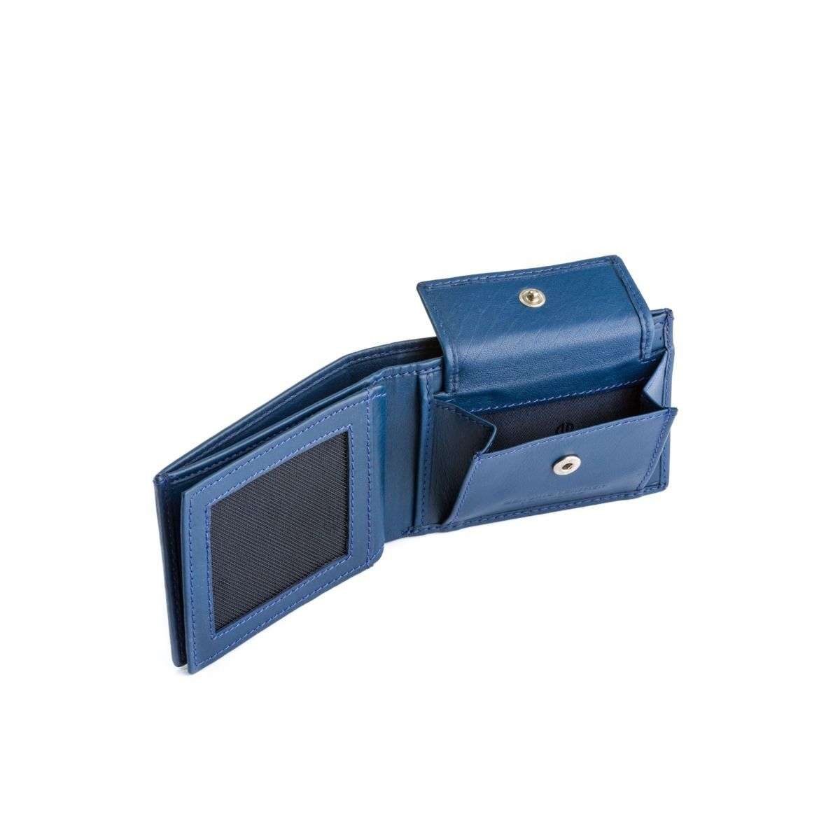 Thin Leather wallet with coin purse - Blue