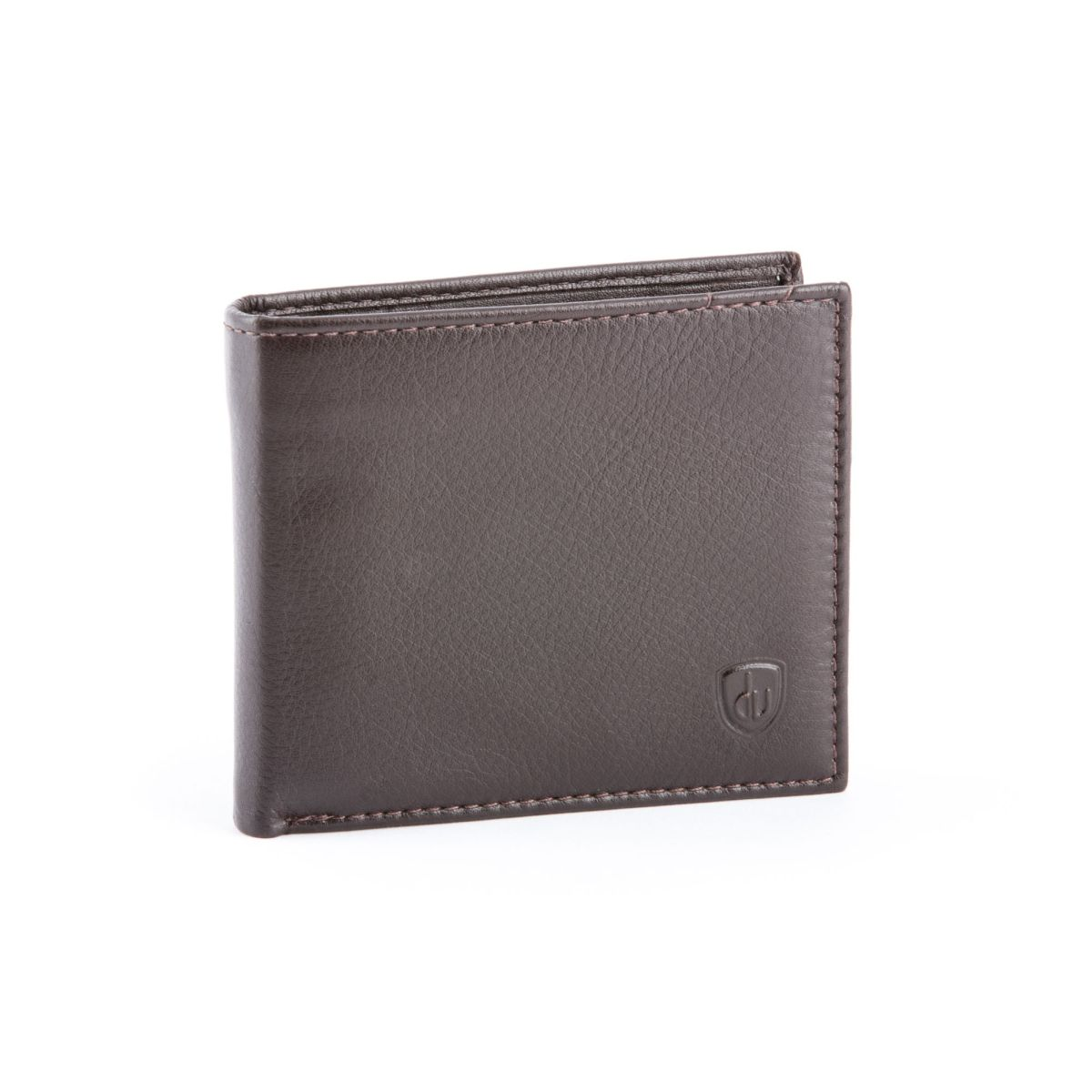 Compact Leather Wallet With Coin Pocket - Dark Brown