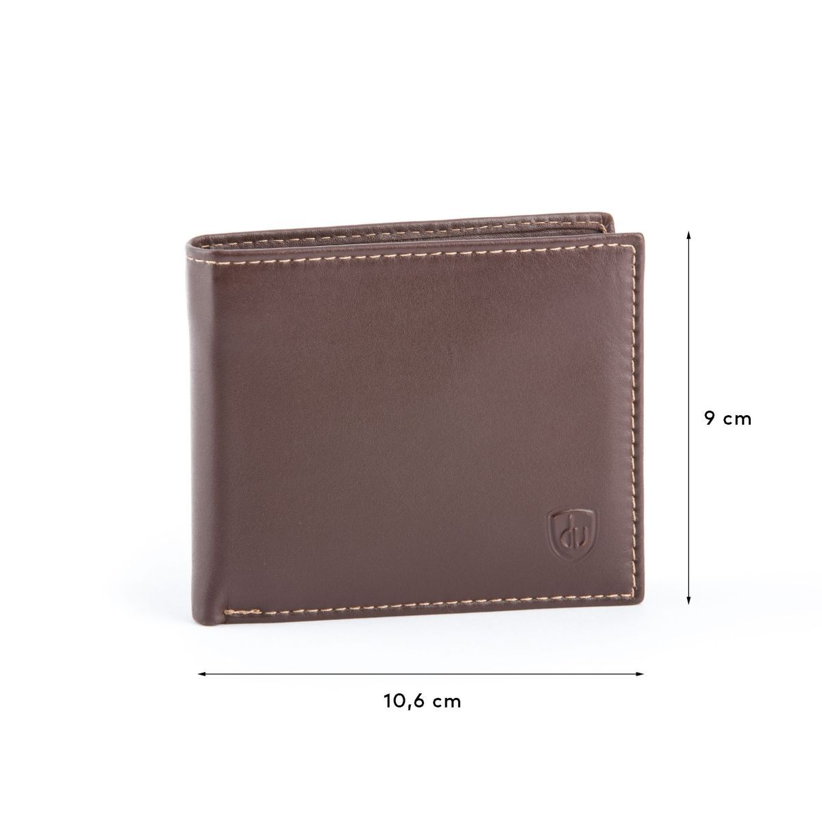 dv Compact Leather Wallet With Coin Pocket - Brown