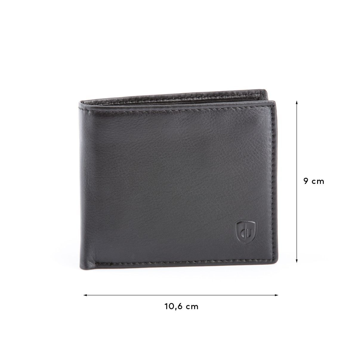dv Compact Leather Wallet With Coin Pocket - Black