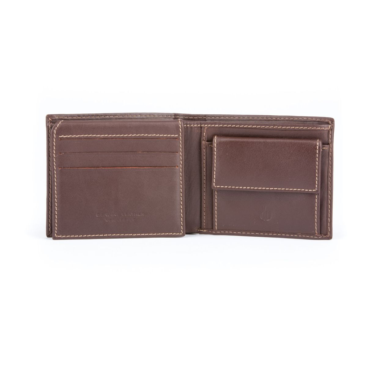 Compact Leather Wallet With Coin Pocket - Brown
