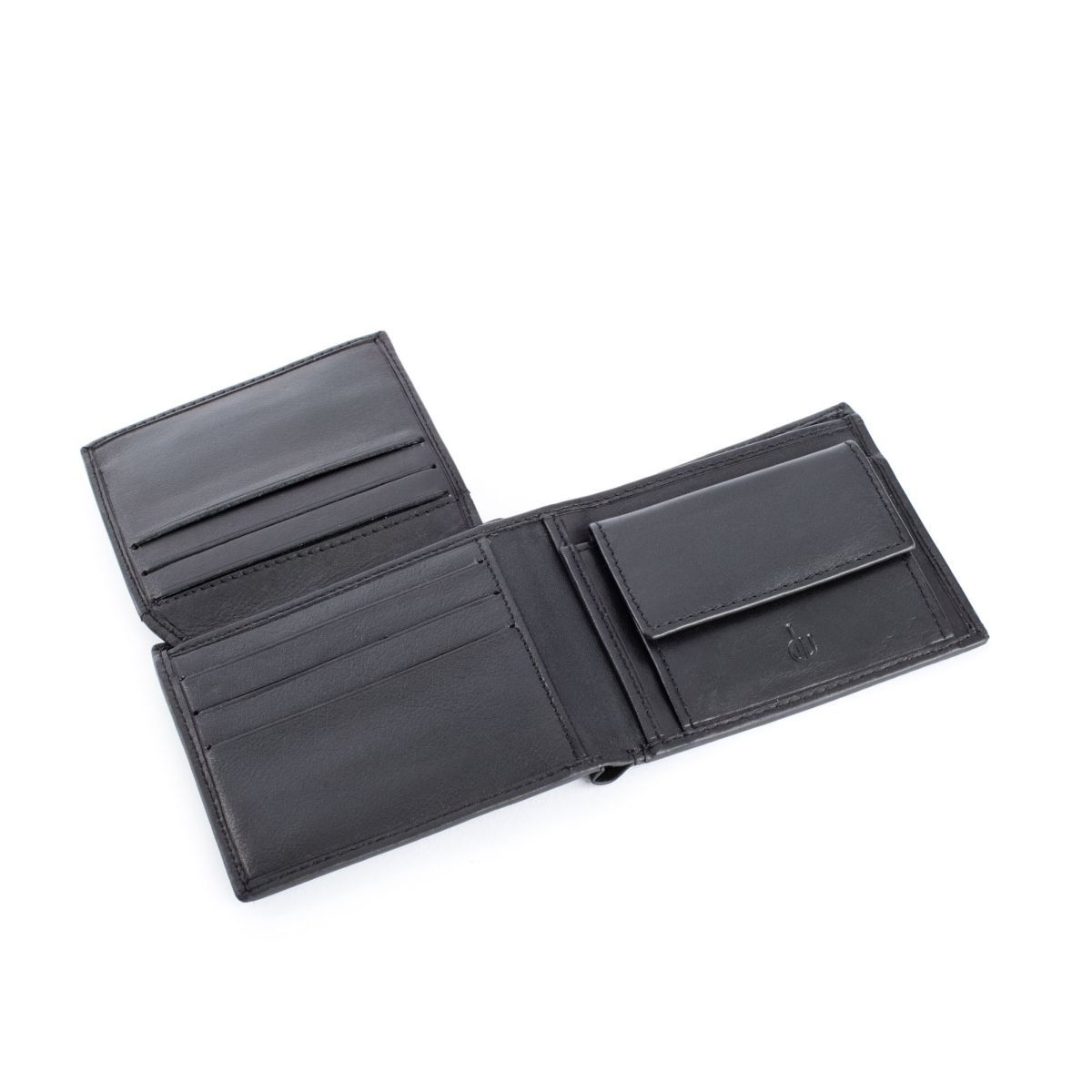 Compact Leather Wallet With Coin Pocket - Black