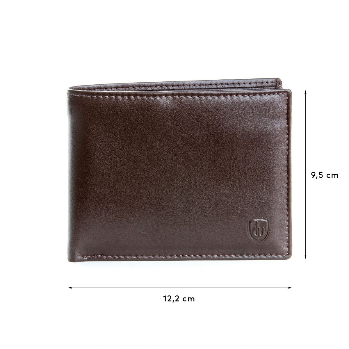 dv Slim Leather wallet with coin purse - Dark Brown