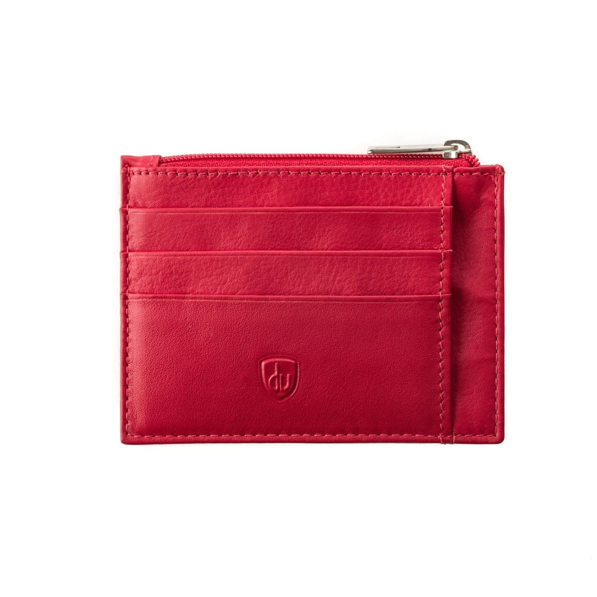 Slim leather credit card wallet - Red