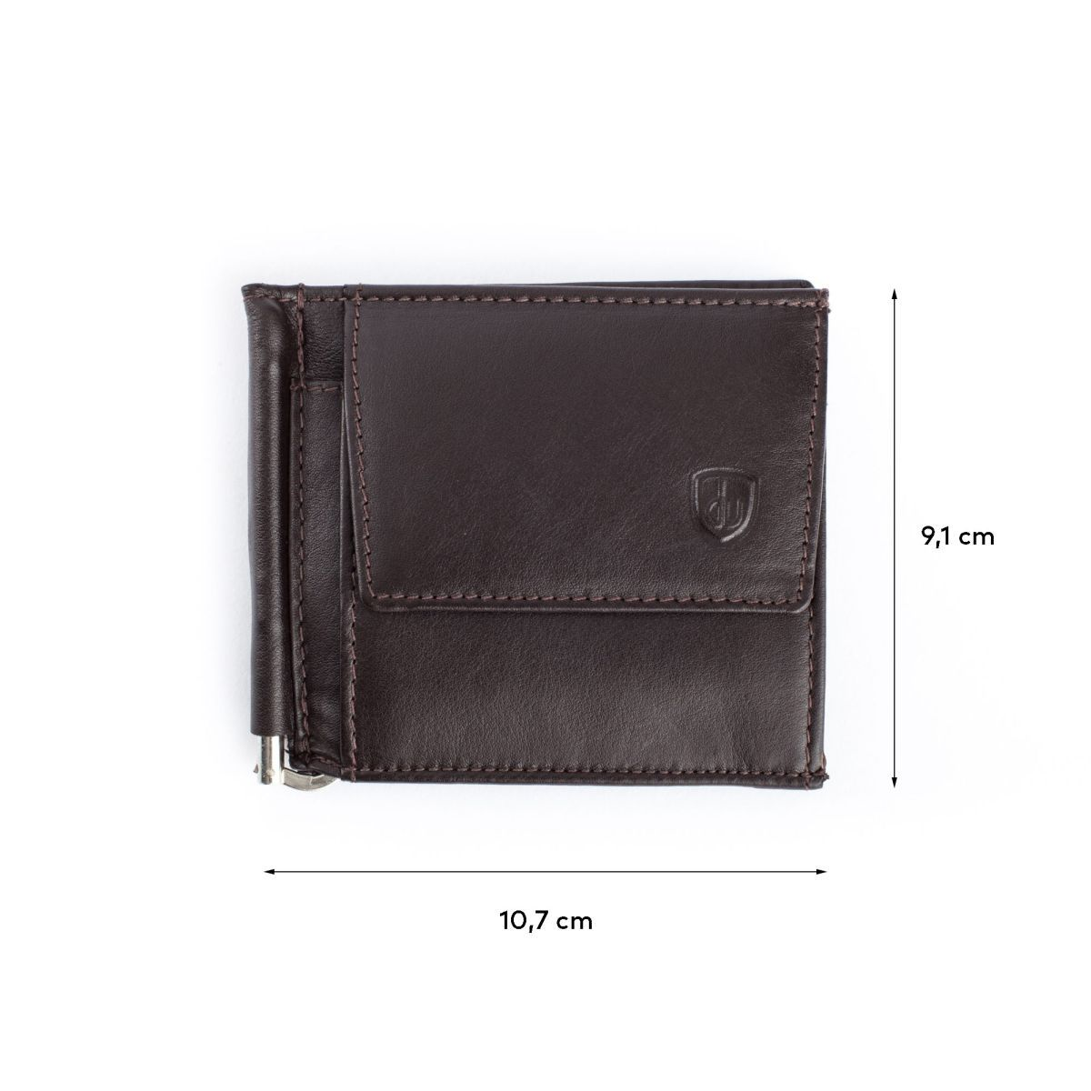 dv Small Leather Wallet With Clips And Coin Pocket - Dark Brown