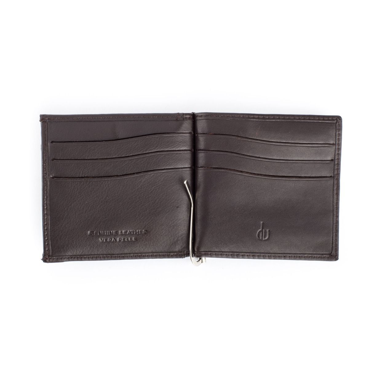 Small Leather Wallet With Clips And Coin Pocket - Dark Brown