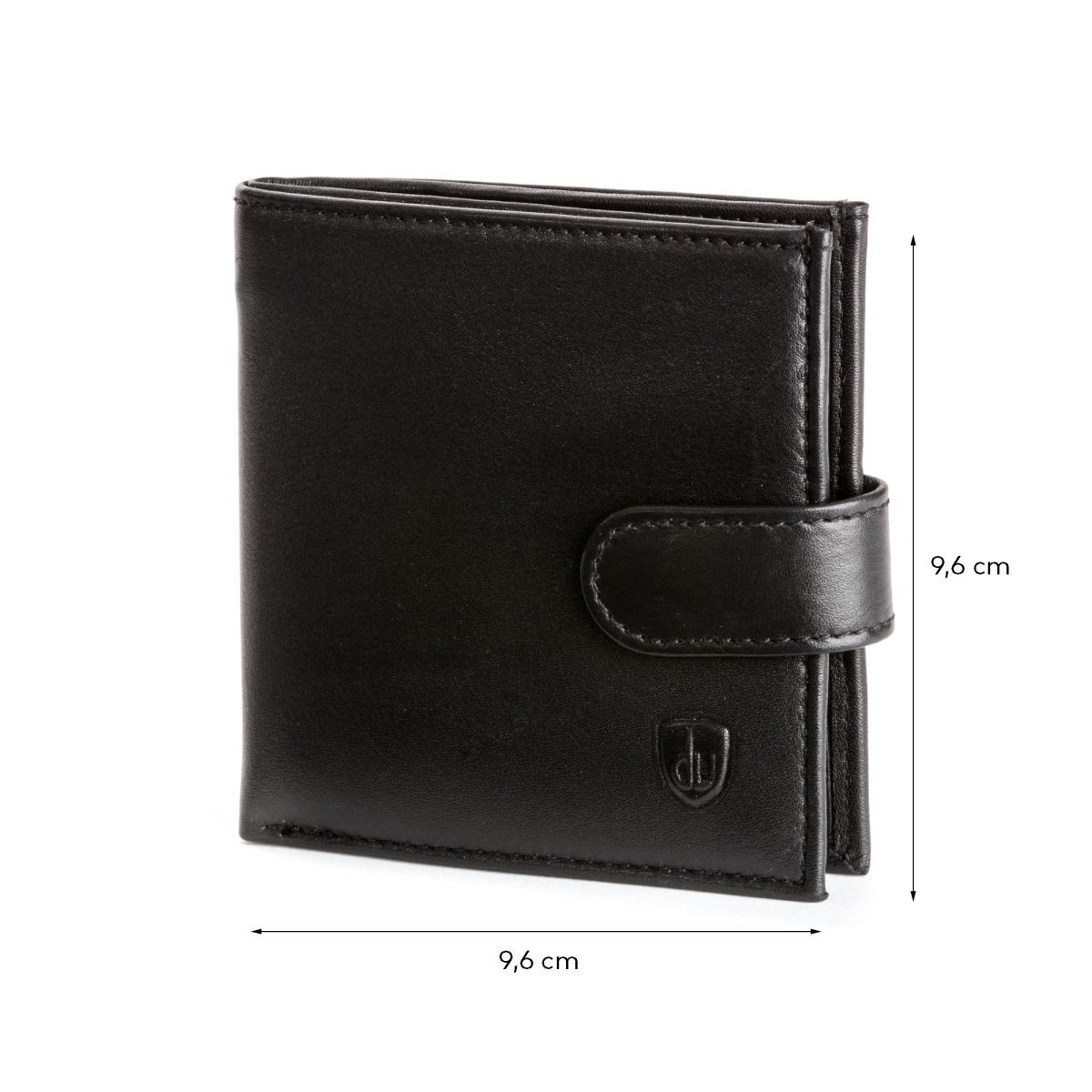 dv Men's Leather Wallet With Snap Closure - Black