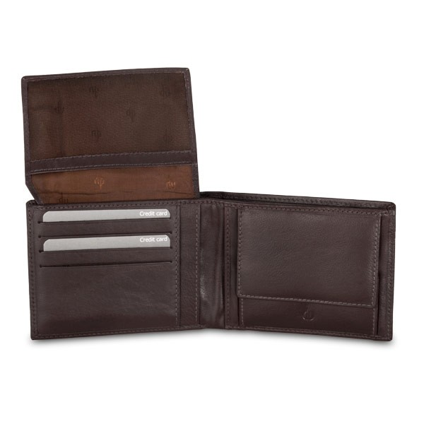 dv Leather wallet with well model coin purse - Dark Brown