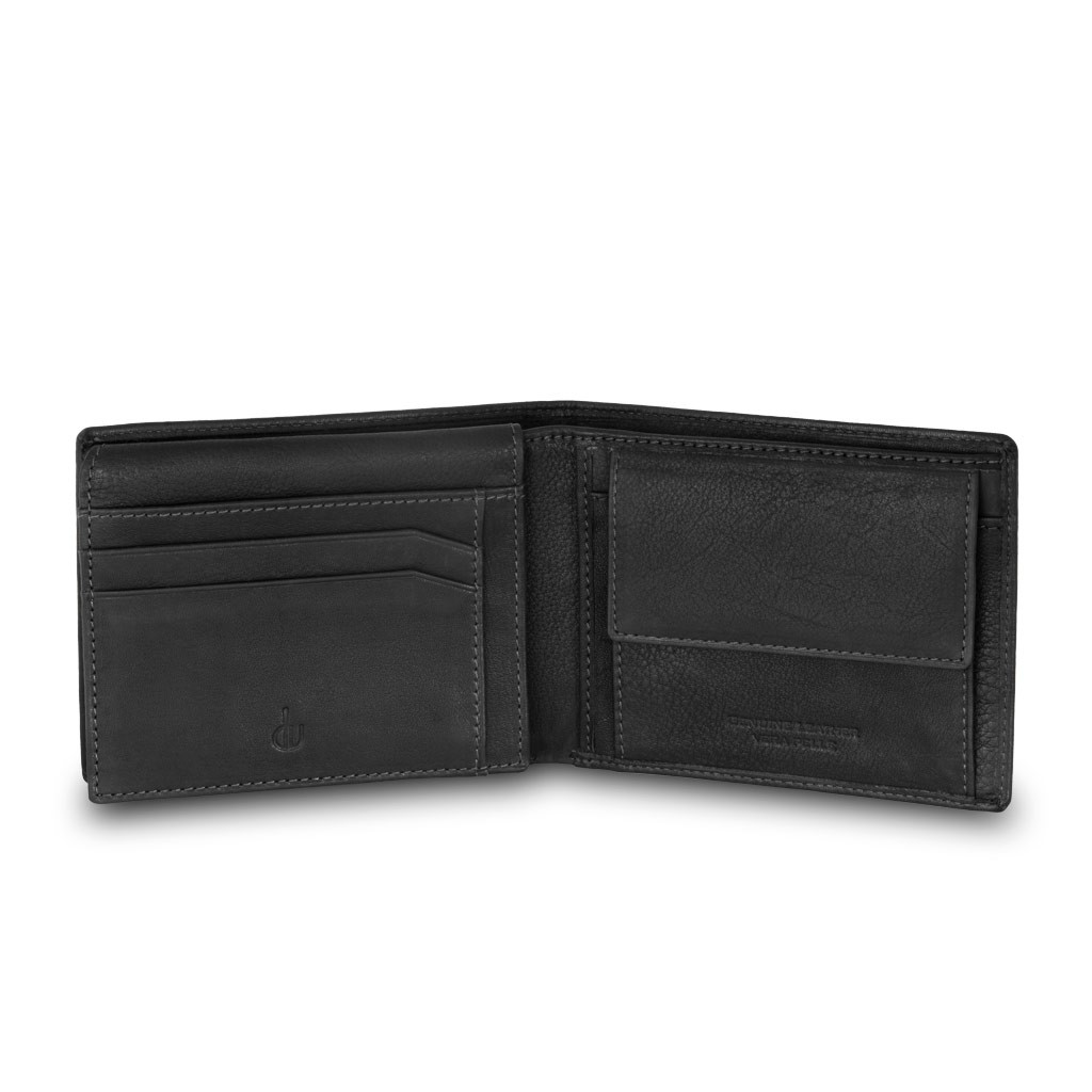 dv Mans leather classic wallet with coin purse and inside flap - Black