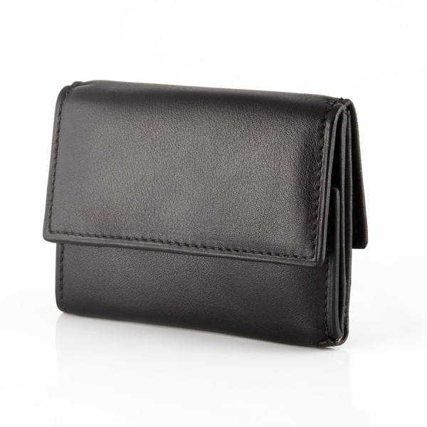 Small leather wallet with coin purse and double closure - Black