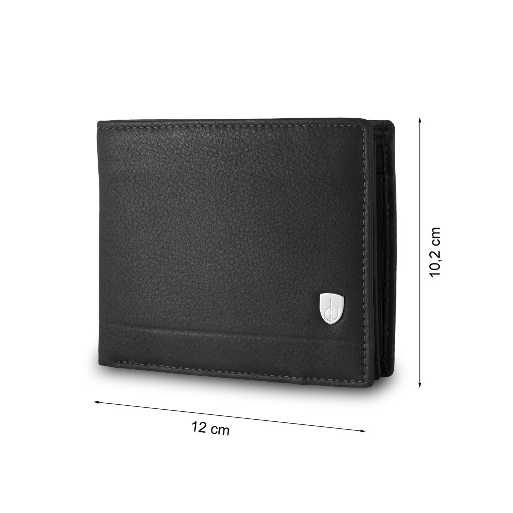 dv Mans leather wallet with coin purse and inside flap - Black