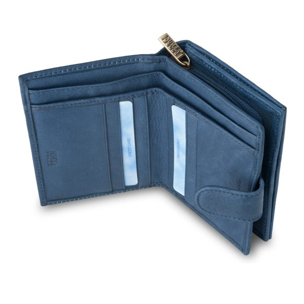 Leather wallet with coin purse and external closure - Blue