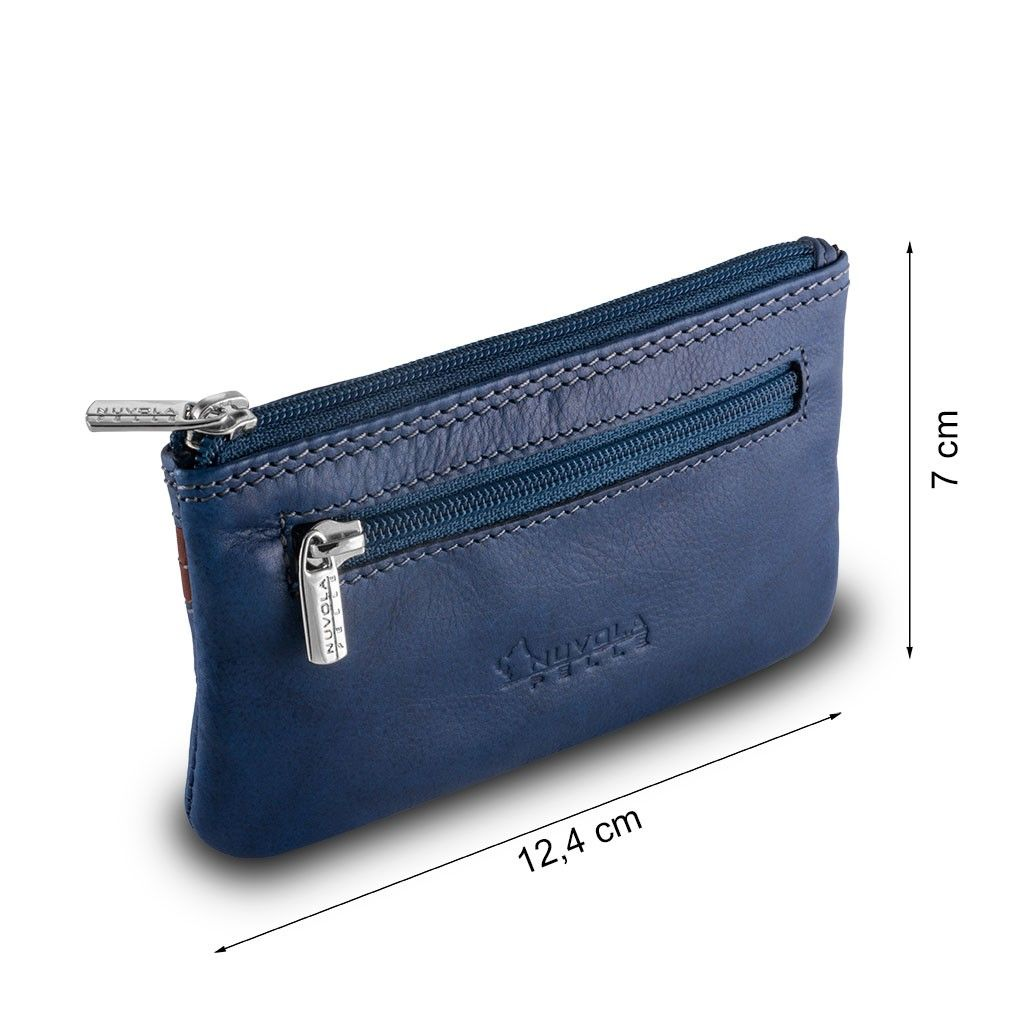 NUVOLA PELLE Leather key holder - Blue