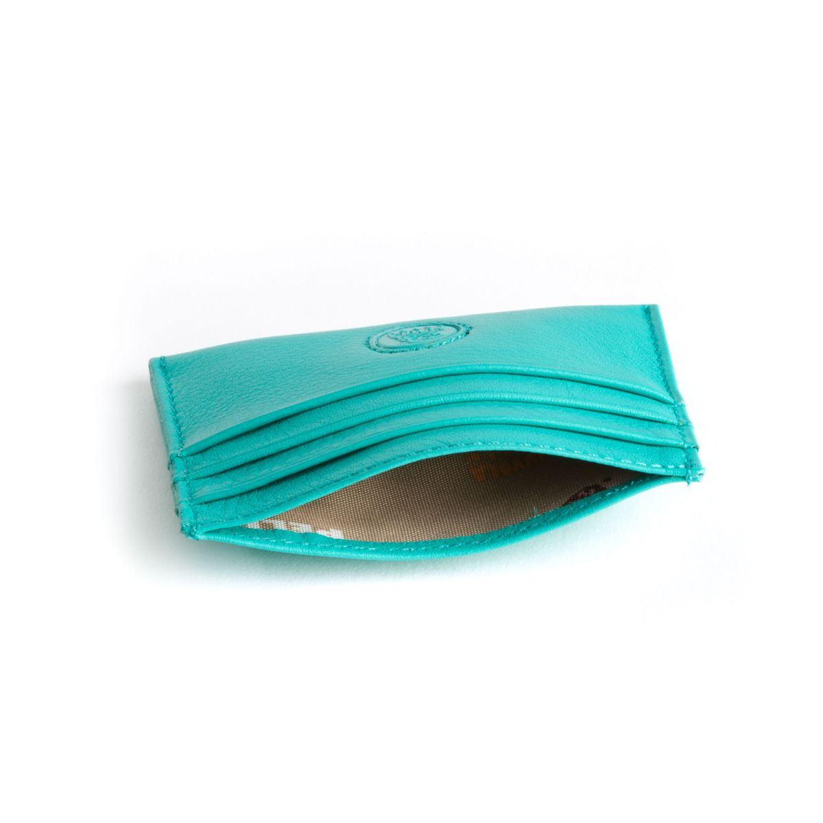 Minimalist leather credit card wallet - Turquoise