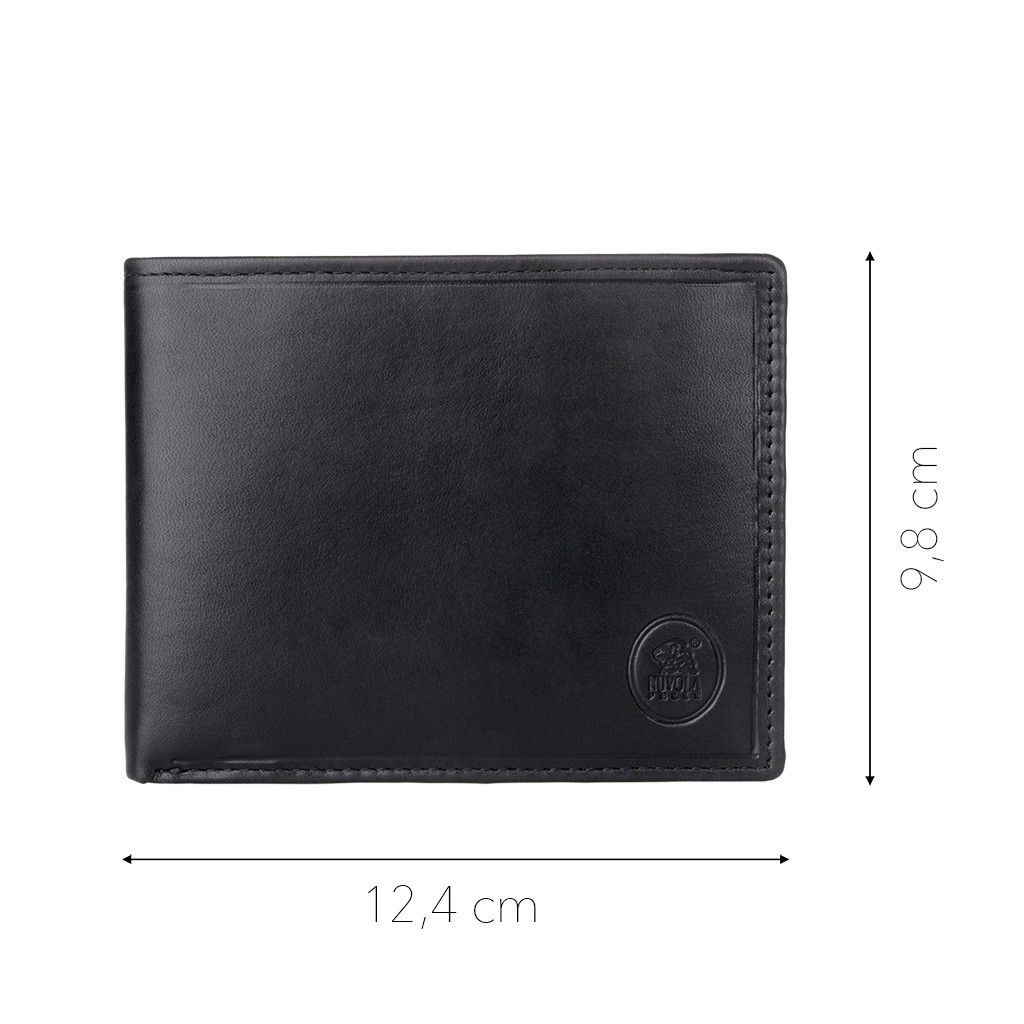NUVOLA PELLE Mens Thin Leather Wallet - Black