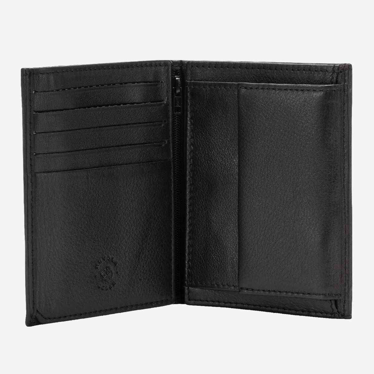 Vertical small leather wallet with coin pocket - Black