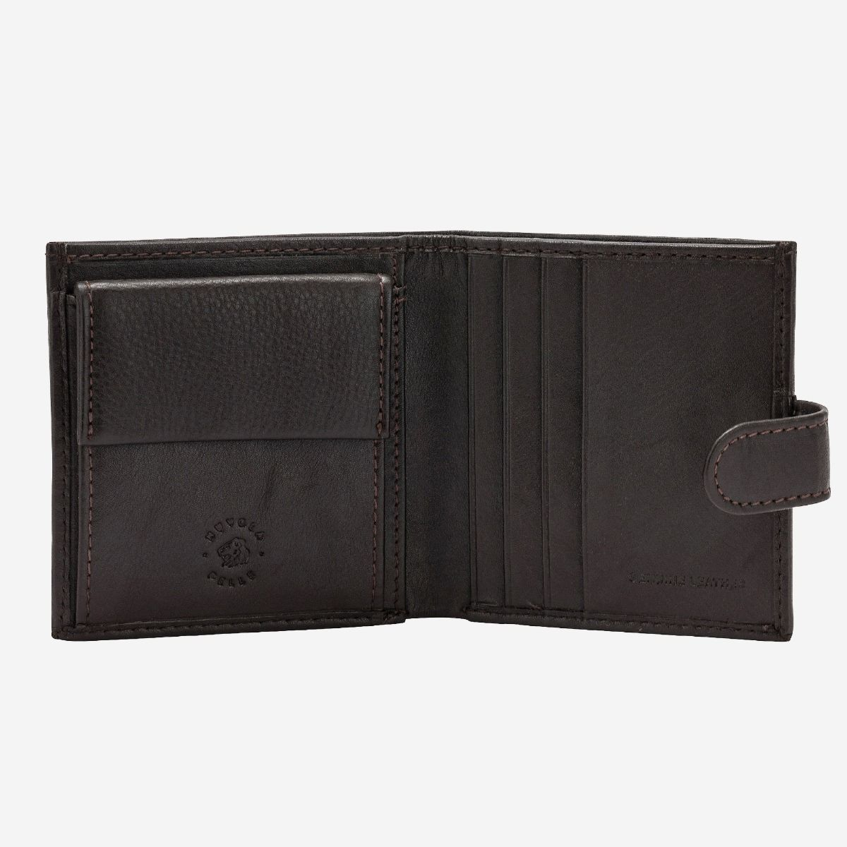 NUVOLA PELLE Mens Leather Wallet With Snap Closure Nappa - Dark Brown