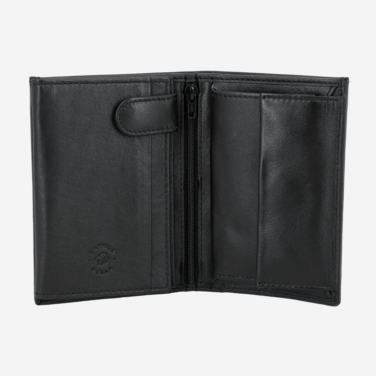 NUVOLA PELLE Mens Vertical Wallet With Coin Pocket - Black