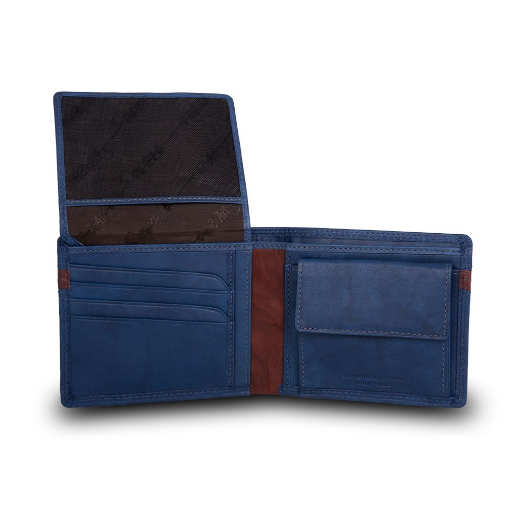 Two-color mans billfold wallet - Blue/Brown