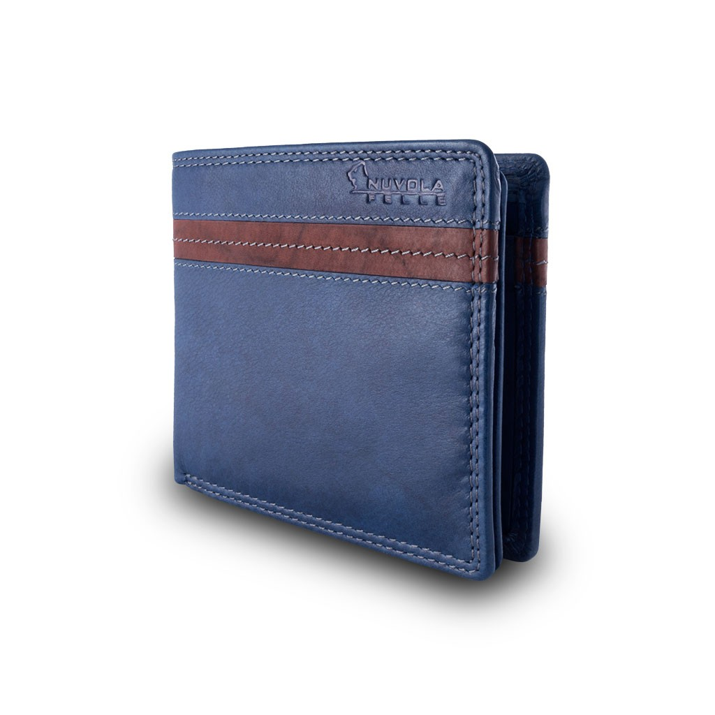 NUVOLA PELLE Two-color mans billfold wallet - Blue/Brown