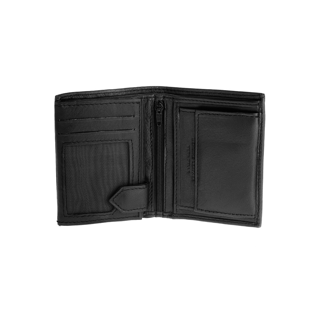 Vertical small leather wallet - Black