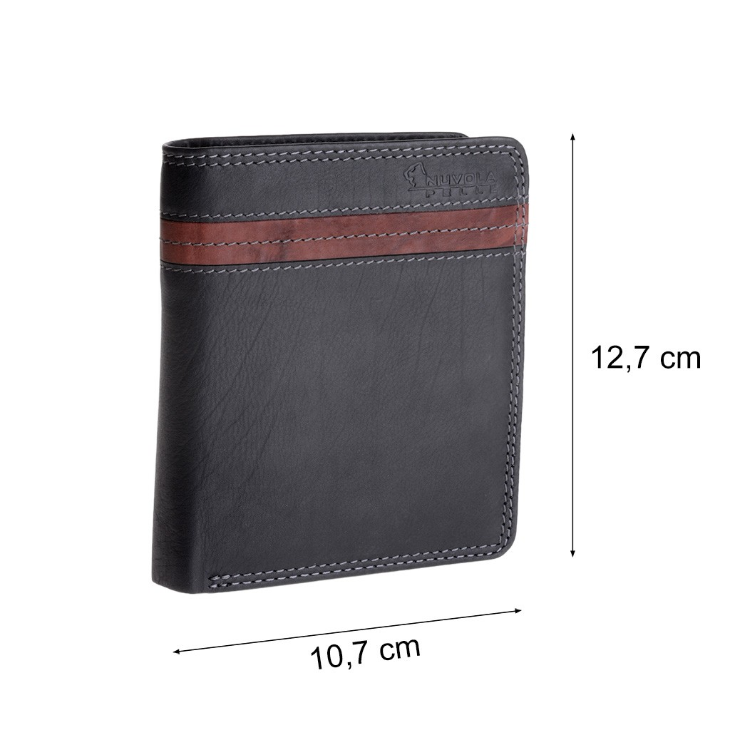 NUVOLA PELLE Man large two-color wallet - Black/Brown