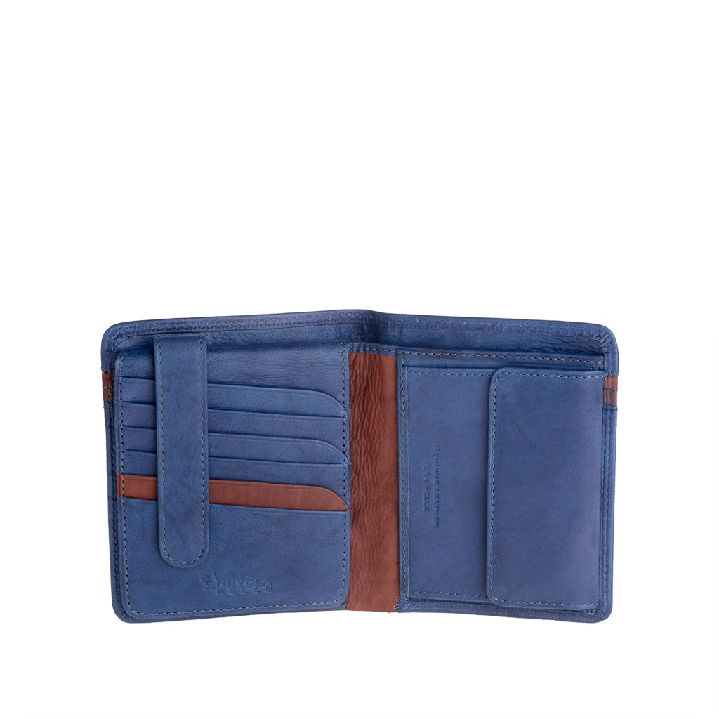 Man large two-color wallet - Blue/Brown