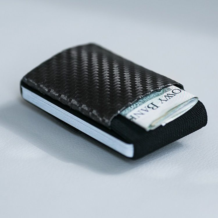 Minimalist Soft Carbon - Rubber Wallet - Black