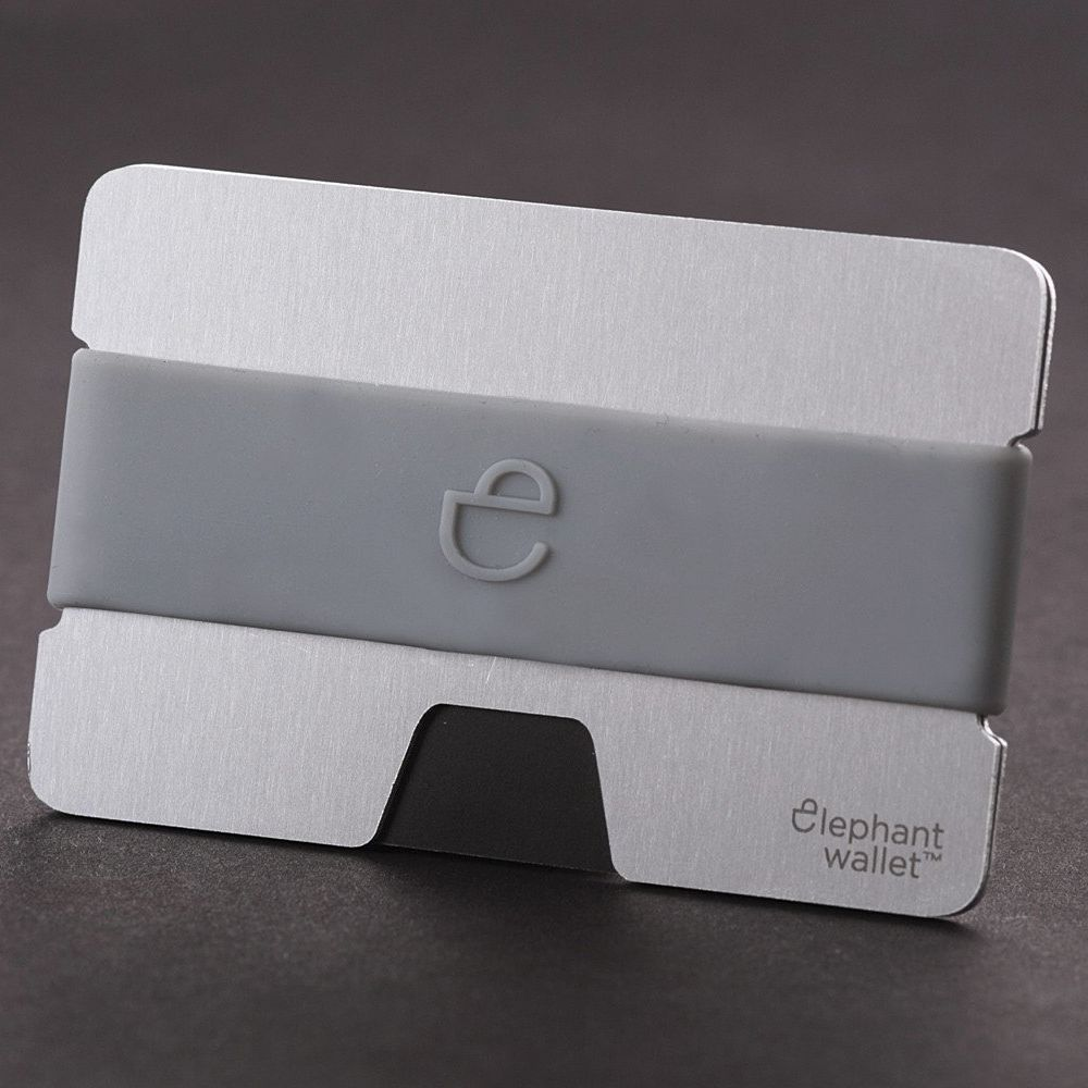 Minimalist Aluminum Wallet With Silicone Strap - Aluminum/Grey