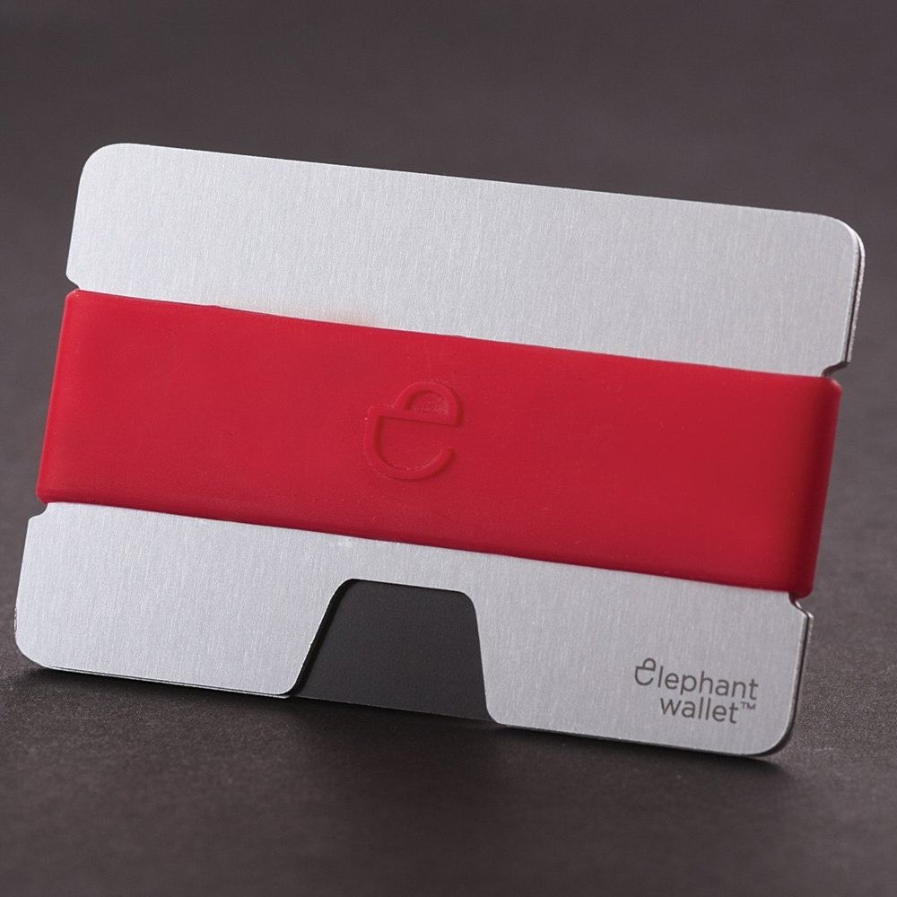 elephant Minimalist Aluminum Wallet With Silicone Strap - Aluminum/Red